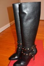 NIB VALENTINO Rockstud Boots Leather Long $1995 AUTHENTIC