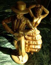 "Spanish Flamenco Dancers Art Deco Era Frank Art Style Ceramic Figurines 13"" Tall"