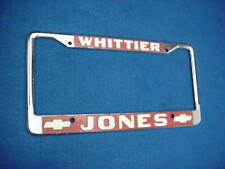 VINTAGE LICENSE PLATE FRAME JONES CHEVROLET CHEVY WHITTIER CALIFORNIA CA CAMARO