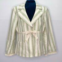Nanette Lepore Blazer Womens Size 10 Spring Green & Cream Stripe Cotton Linen