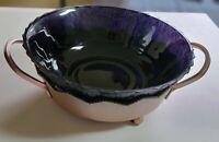 Vintage Purple/Amethyst Purple Glass Textured Fruit Bowl in copper base