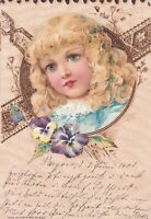 Pretty Blond girl in Early Wood Cut effect  Design  1900 Chromolitho
