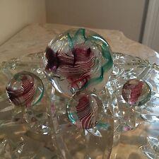 "JOHN HAMON MILLER HANDBLOWN GLASS ""END OF CANE"" PAPERWEIGHT W/MATCHING MARBLES"