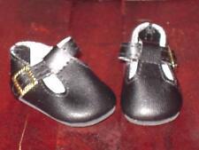 "Black Leather w/ Gold Buckle Shoes Helen Kish dolls or Similar -measure 1 7/8"""