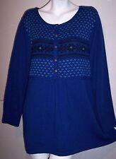 Denim 24/7 Sweater 1X Blue Nordic Fair Isle Babydoll Style Romans Knit Tunic Top