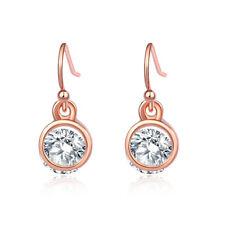 Women Rose Gold Filled Round Cubic Zircon Hook Stud Earrings Dangle Jewelry