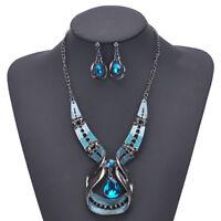 Fashion Women Crystal Choker Pendant Statement Bib Necklace Earrings Jewelry Set