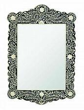 Big Size Handmade Bone Inlay Floral Black Design Mirror Frame