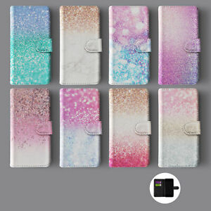OMBRE FADED GLITTER MARBLE ROSE GOLD LEATHER WALLET PHONE CASE FOR IPHONE