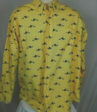 Nautica Mens button down 100% cotton shirt  Yellow with rowing design LARGE