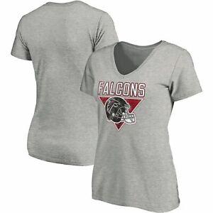 NWT Atlanta Falcons Womens Ladies Her Gray V-neck T-Shirt (L, XXL) Jersey Shirt