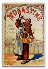 1892 Monastine French Liquor Vintage Style Advertising Poster - 24x36