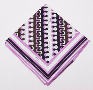 New $120 EMILIO PUCCI Lilac Pink-Brown Wave Print Silk Pocket Square Italy