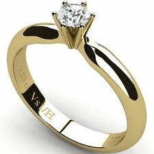 Solitaire Wedding Yellow Gold Very Good Fine Diamond Rings