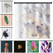 Fabric Flower Bathroom Shower Curtain Set 3D Printed Waterproof with Hooks