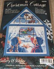 "1996 Bucilla / Rossi Christmas Cottage ""Kids Watch"" Cross Stitch Kit w/ Frame"