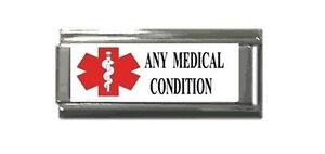 Italian Charms EMT Medical Alert  Custom Any Allergy Red White