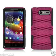 Motorola Electrify M XT901 Mesh Hybrid Case Skin Cover Accessory Hot Pink Black