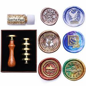 Sealing Wax Stamps Set,Wax Seal Stamp Kit with 6pcs Brass Seals &1 Wooden Handle
