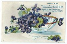 "Vintage Postcard ""Violet I am true There are no flowers grown in the vale..."""