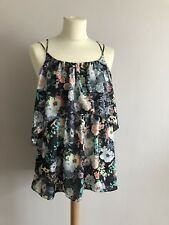 River Island Floral Layered Cami Size 10 💗 BNWT Crossed Straps Flounce
