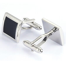 Plain Black and Silver Stainless Steel Cuff Links with Boxes