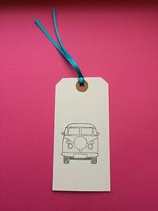 5 X HANDMADE LARGE WHITE CAMPER VAN GIFT TAGS / LUGGAGE LABELS