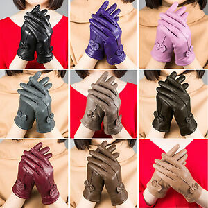 Winter Lambskin Leather Thermal Gloves Womens Lady Bow Gloves Plus Velvet Gloves