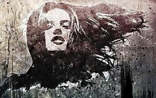 Paper Print Poster A4 Banksy style stencil girl face  street art graffiti urban