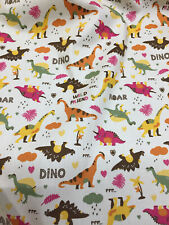 Light Beige Dinosaur Childrens Printed 100% Cotton Poplin Fabric.