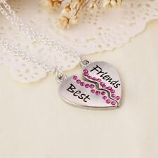 2PCs/Set BEST FRIENDS Broken Heart Pendant Silver Diamonds Necklace Chain Gift
