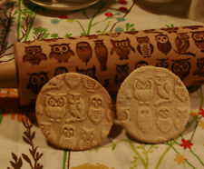 Engraved wooden rolling pin Owls