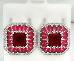 GENUINE 6.38 Cts RUBIES STUD EARRINGS SILVER PLATED * New With Tag*