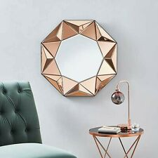 3D Geo Wall Mirror 60cm Rose Gold