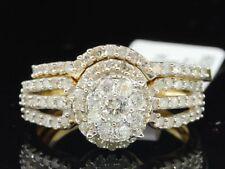 Diamond Flower Halo Bridal Wedding Set Yellow Gold Engagement Ring 0.88 Ct.