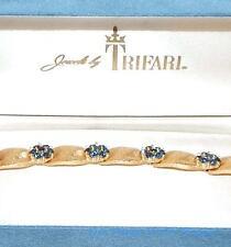 Vintage TRIFARI Sapphire Blue Rhinestone Sept Birthstone Bracelet In Orig Box