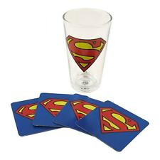 OFFICIAL SUPERMAN DC COMICS MAN OF STEEL GLASS AND 4 COASTER SET NEW IN GIFT BOX