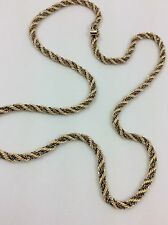 14K TWO TONE YELLOW AND WHITE GOLD ROPE STYLE CHAIN NECKLACE 25""