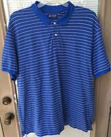 CHAPS Mens Polo Short Sleeve Blue/White/Black Striped Shirt Mens Size XXL