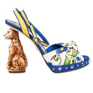 Dolce & Gabbana Majolica High Heel Sandals Keira Leopard Heel Blue White 09042