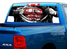 P502 Superman Rear Window Tint Graphic Decal Wrap Back Truck Tailgate