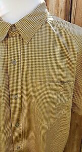 The North Face Mens Shirt Sz XL Snap Front Hiking Quick Dry Yellow Short Sleeve