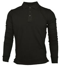 New Long Sleeve Polo Plain Mens
