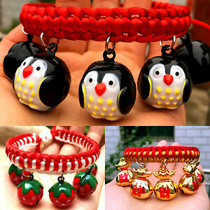 BL_ CW_ Cute Braided Pet Collar with Cartoon Figure Bells Puppy Necklace  Supply