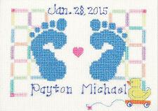 Cross Stitch Kit ~ Janlynn Baby Feet Birth Record (For a Boy or Girl) #3051-18