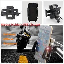 Waterproof Motorcycle Bike  Phone Handlebar Mount Holder + USB Charger Universal