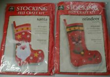 "New ListingLot 2 Felt Craft Stocking Kits New Santa Reindeer Christmas House Craft 18"" New"