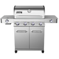 Monument Grills Stainless Steel 4 Burner Propane Gas Grill w/ Side Sear Burners