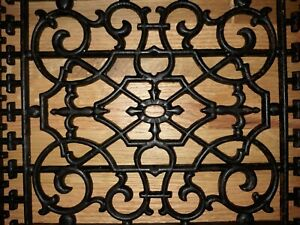 Antique Vintage Ornate Cast Iron Heat Vent Grate Return Register Air Floor Wall