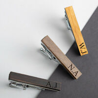 Personalised Engraved Tie Pin Clip Bar Wooden Mens Wedding Birthday Gift